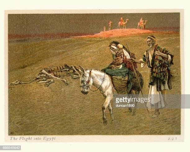 illustrazioni stock, clip art, cartoni animati e icone di tendenza di mary and joseph's flight into egypt - san giuseppe