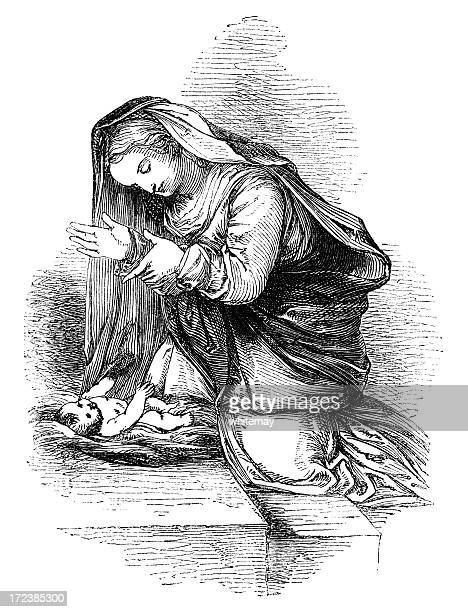 mary and the holy child (victorian woodcut) - virgin mary stock illustrations