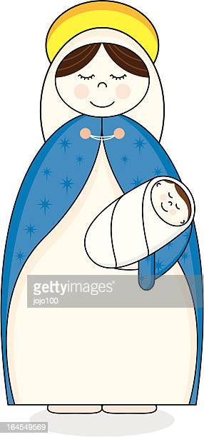 mary holding baby jesus character icons - baby blanket stock illustrations, clip art, cartoons, & icons