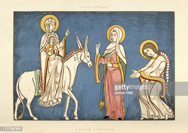 Mary holding the baby Jesus, riding a donkey, 12th Century