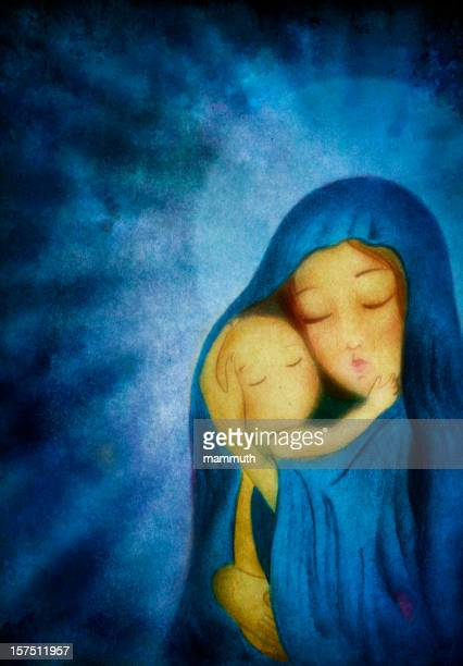 mary holding the child jesus before dark blue background - virgin mary stock illustrations, clip art, cartoons, & icons