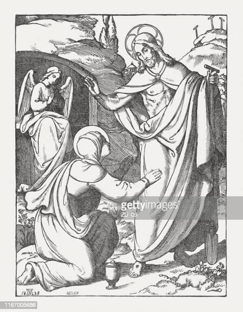 マグダラのメアリーは、上昇イエスを見て、木の彫刻、1850年に出版 - メアリー マグダレーン点のイラスト素材/クリップアート素材/マンガ素材/アイコン素材