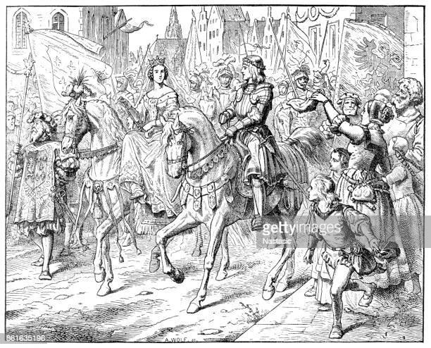 Mary, Marie, 1457 - 1482, Duchess of Burgundy and Maximilian I, Holy Roman Emperor at Gent, Belgium, Erzherzog Max und Maria von Burgund in Gent, Belgien