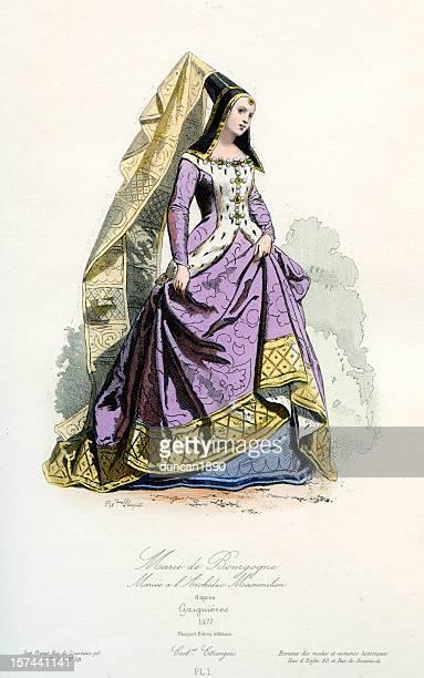 mary of burgundy - circa 15th century stock illustrations, clip art, cartoons, & icons