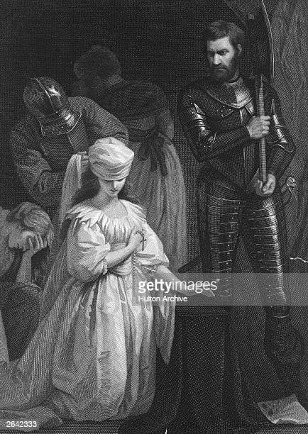 Mary, Queen of Scots approaches the scaffold, 8th February 1587.