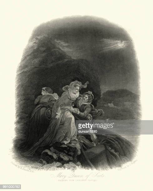lochleven 城から脱出をスコットランドのメアリー女王 - スコットランド メアリー女王点のイラスト素材/クリップアート素材/マンガ素材/アイコン素材