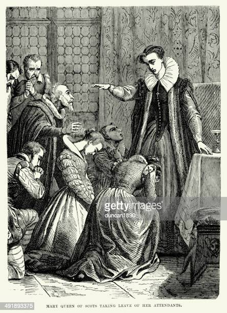 mary queen of scots - tudor stock illustrations