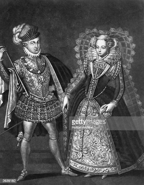 Mary, Queen of Scots with her second husband and cousin Henry Stewart, Lord Darnley, circa 1565. Mary, the only daughter of James V and his second...