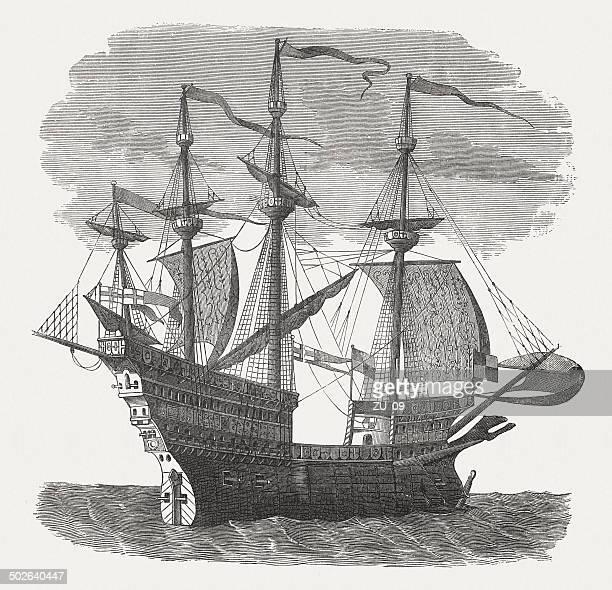 mary rose, warship of english king henry viii, published 1880 - warship stock illustrations