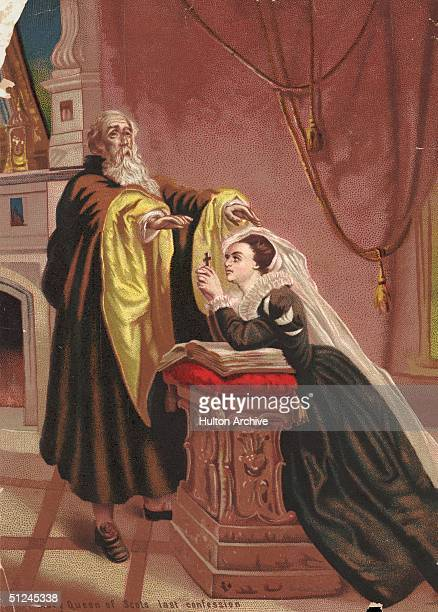 Mary Stuart , Queen of Scotland makes her last confession before being executed for treason.