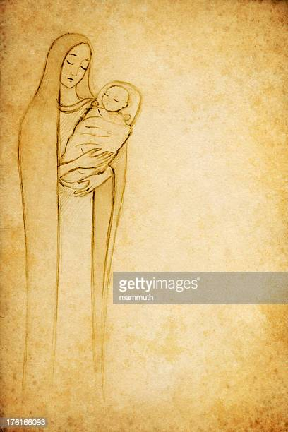 mary with the child jesus - virgin mary stock illustrations, clip art, cartoons, & icons