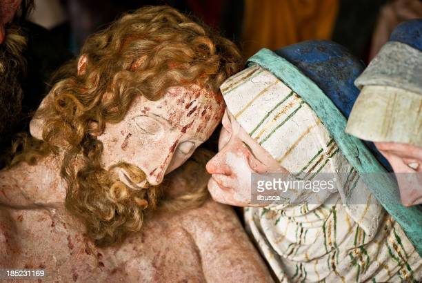 mary with the dead body of jesus after crucifixion - the crucifixion stock illustrations, clip art, cartoons, & icons