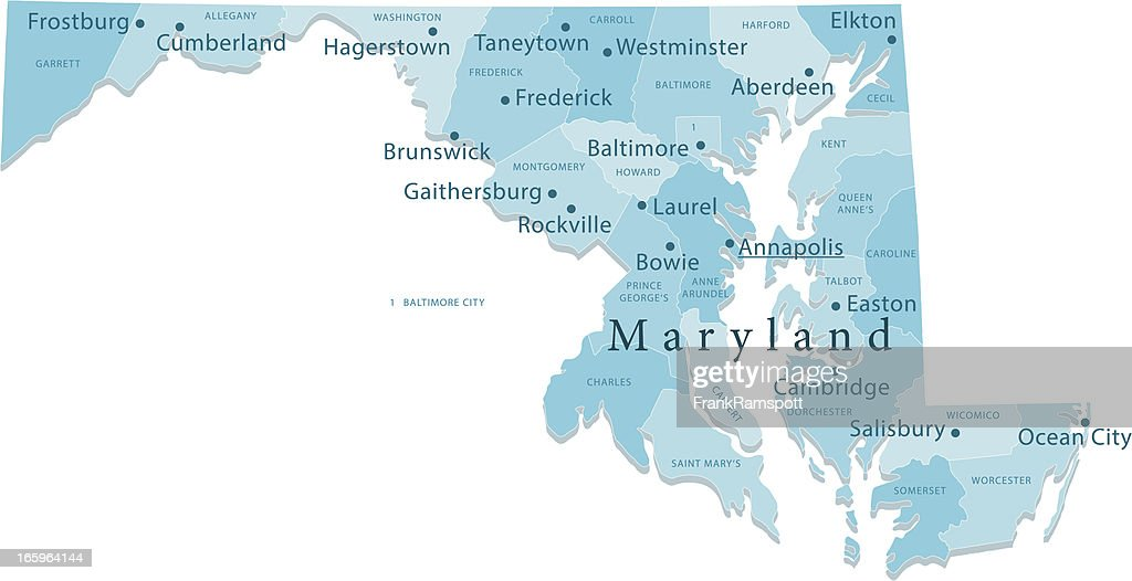 Maryland Vector Map Regions Isolated : stock illustration