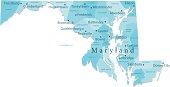 Maryland Vector Map Regions Isolated