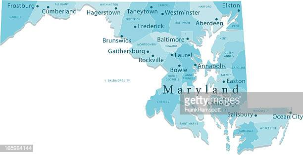 maryland vector map regions isolated - baltimore maryland stock illustrations, clip art, cartoons, & icons