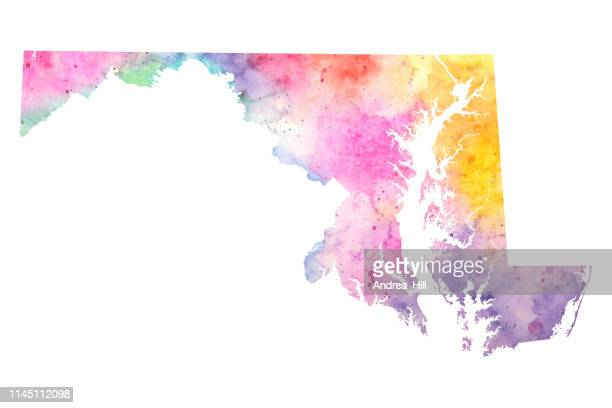 Maryland Watercolor Raster Map Illustration in Pastel Colors