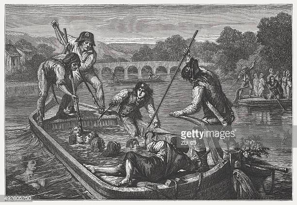 mass drowning, french revolution, published in 1871 - execution stock illustrations