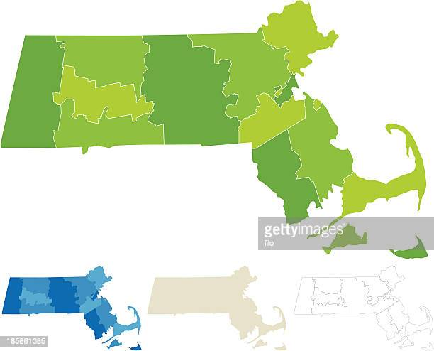 massachusetts county map - massachusetts stock illustrations