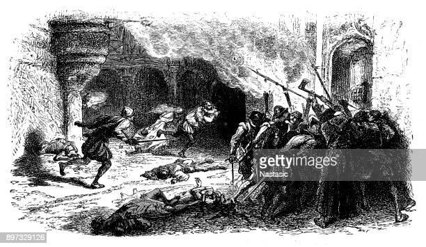 massacre of protestants - protestantism stock illustrations, clip art, cartoons, & icons