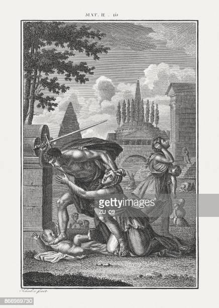 ilustraciones, imágenes clip art, dibujos animados e iconos de stock de masacre de los inocentes (mateo 2), copperplate grabado, publicado c.1850 - maltrato infantil