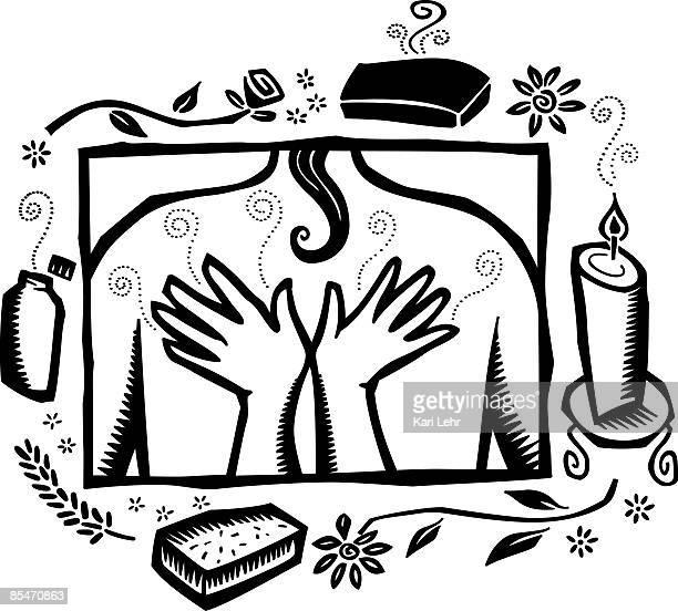 ilustrações de stock, clip art, desenhos animados e ícones de massage and aromatherapy - massagista