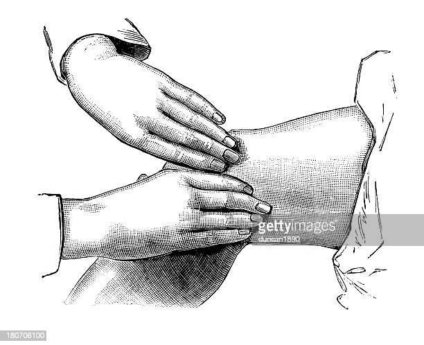 ilustrações de stock, clip art, desenhos animados e ícones de massajar o joelho - massagista