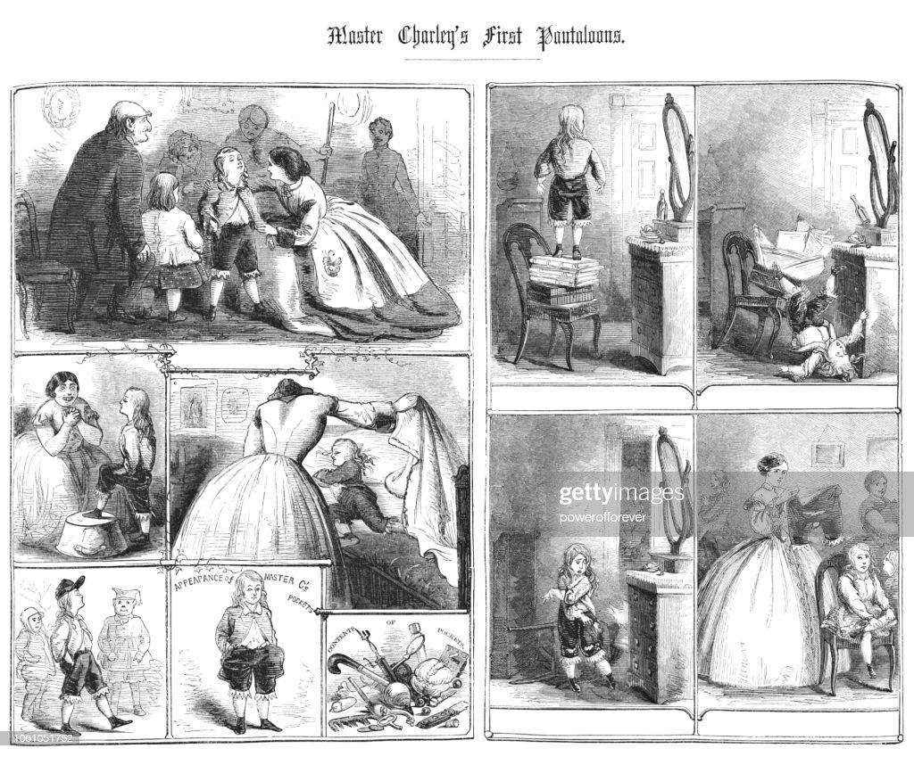 Master Charley's First Pantaloons Comic Strip Cartoon (19th Century) : stock illustration
