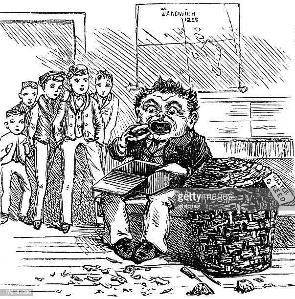 ilustraciones, imágenes clip art, dibujos animados e iconos de stock de master g reed'- codiciosos victoriano niño en edad escolar (grabado - obesidad infantil