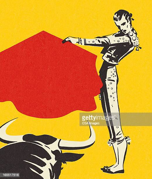 matador and a bull - iberian peninsula stock illustrations, clip art, cartoons, & icons