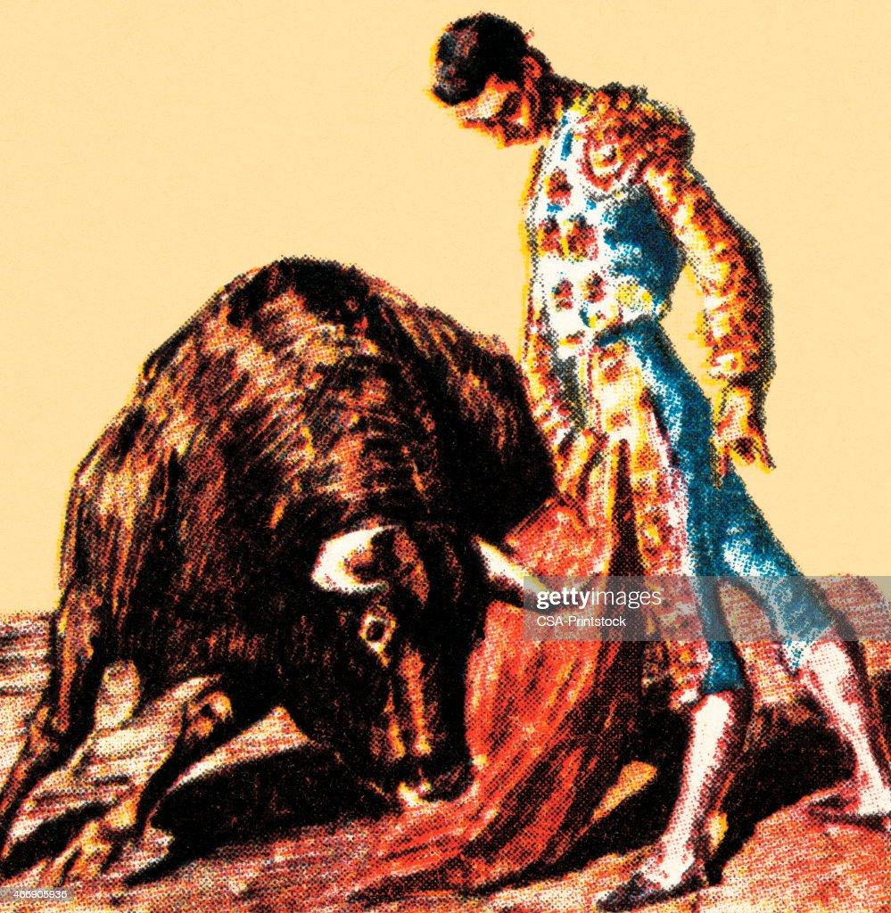 Matador and bull : stock illustration