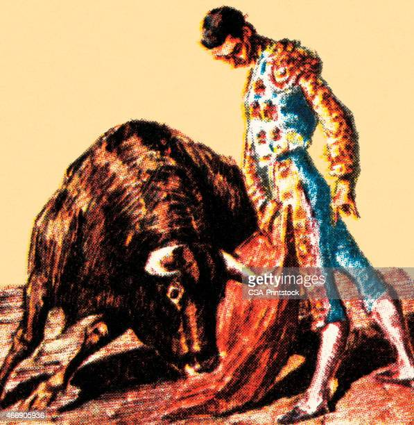 matador and bull - bullfighter stock illustrations, clip art, cartoons, & icons