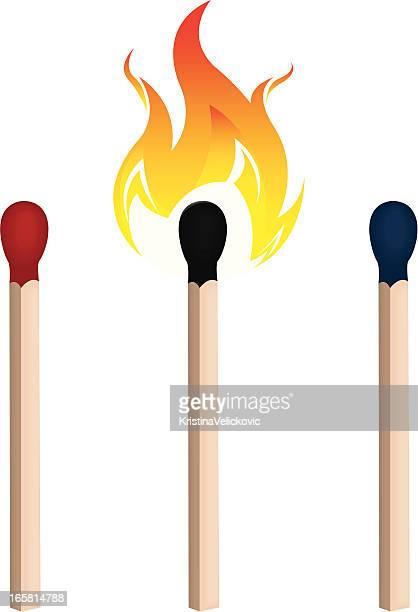 illustrazioni stock, clip art, cartoni animati e icone di tendenza di corrisponde a - fiammifero