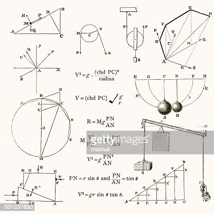 Math And Physics Formulas And Drawings Stock Illustration
