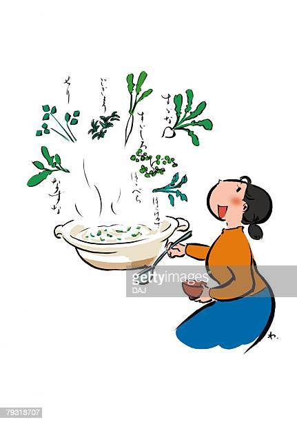 mature adult woman preparing rice gruel containing the seven spring herbs, side view, profile - chickweed stock illustrations, clip art, cartoons, & icons