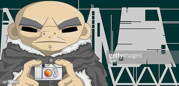 mature man taking a photograph of himself at night on vacation with a digital camera - only japanese stock illustrations, clip art, cartoons, & icons