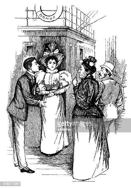 mature victorian lady looking through lorgnettes at a young couple - social grace stock illustrations, clip art, cartoons, & icons