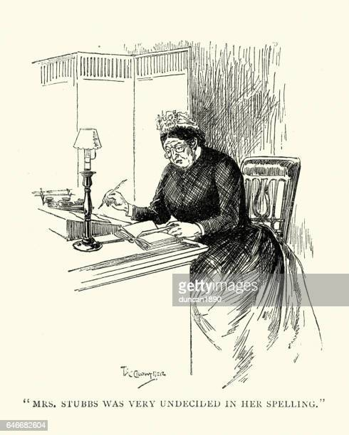 Mature victorian lady writing a letter