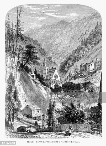 """Mauch Cunk """"Bear Mountain,"""" from the foot of Mount Pisgah, Pennsylvania, United States, American Victorian Engraving, 1872"""