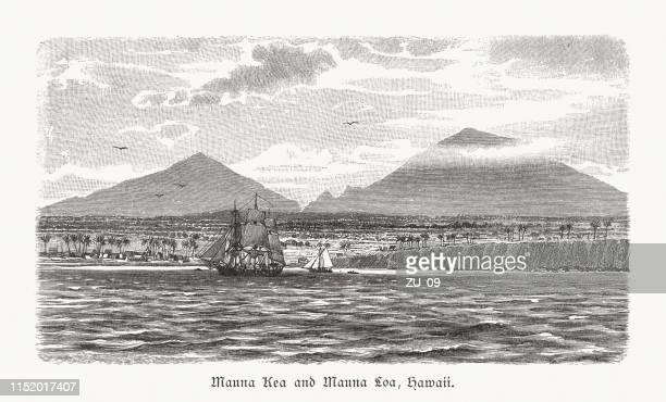 mauna kea und mauna loa, hawaii, usa, holzschnitt, erschienen 1897 - hawaii inselgruppe stock-grafiken, -clipart, -cartoons und -symbole