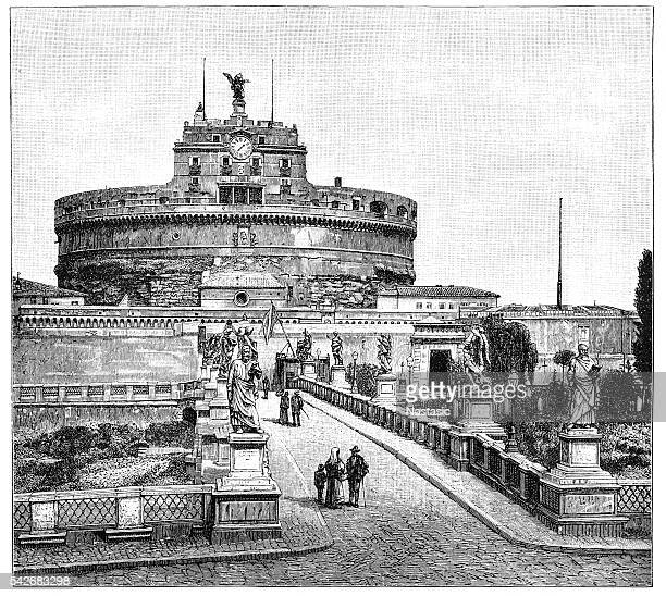 mausoleum of emperor hadrian also known as castle of holy angel - castel sant'angelo stock illustrations