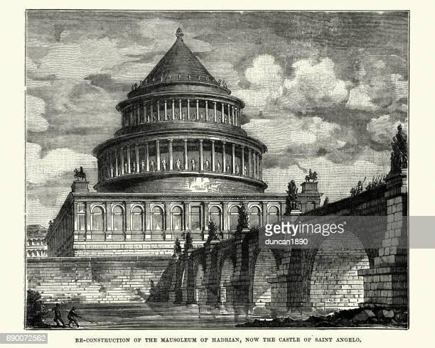 mausoleum of hadrian, castel sant'angelo, rome - castel sant'angelo stock illustrations
