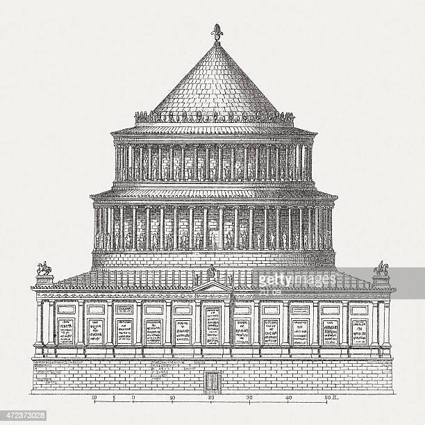 mausoleum of hadrian (76-138 ad), wood engraving, published in 1874 - castel sant'angelo stock illustrations