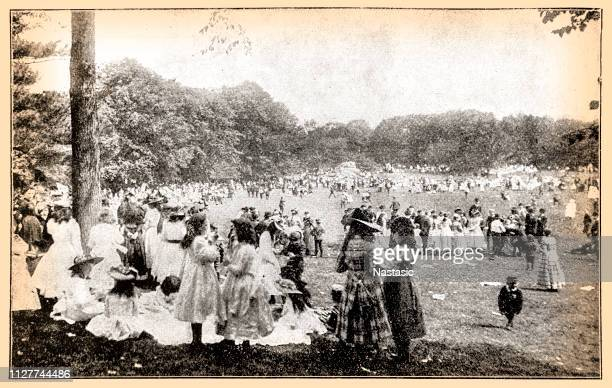 may day in central park, new york 1897 - 19th century stock illustrations