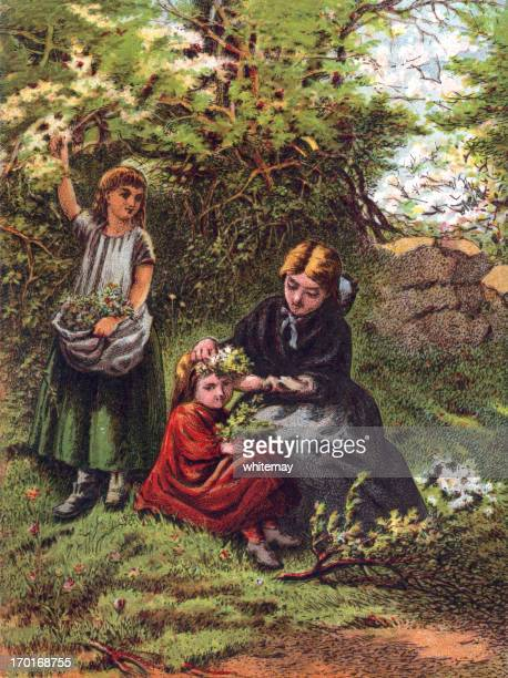 may - mother and daughters picking flowers - may day international workers day stock illustrations