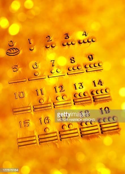ilustraciones, imágenes clip art, dibujos animados e iconos de stock de maya numerals, artwork - calendario maya