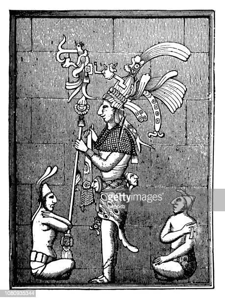 mayan human figures sculpture at palenque - ancient civilization stock illustrations, clip art, cartoons, & icons