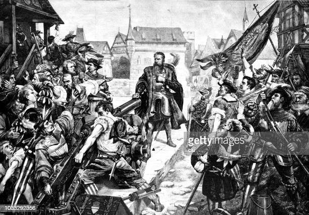 mayor wengi prevents the religious war in solothurn 1533 - protestantism stock illustrations, clip art, cartoons, & icons