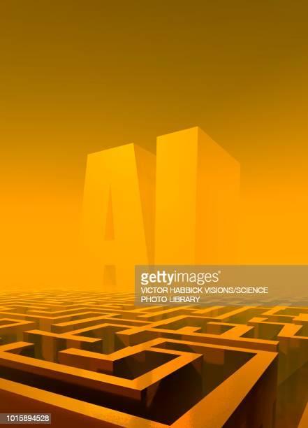 ai maze, conceptual illustration - letter stock illustrations