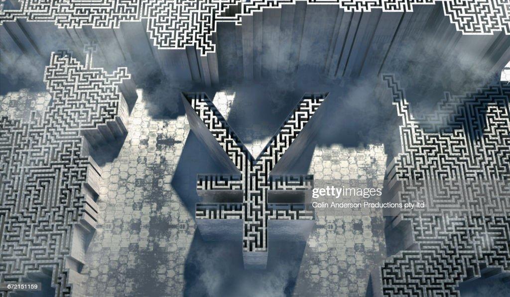Maze inside three dimensional yuan symbol : stock illustration