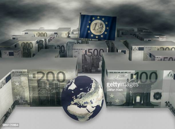 maze of euro notes, a globe and the flag of the european union - european union euro note stock illustrations, clip art, cartoons, & icons